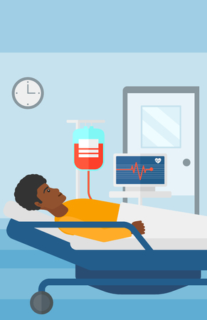 heart monitor: An african-american man lying in hospital ward with heart rate monitor while blood transfusion is running vector flat design illustration. Vertical layout.