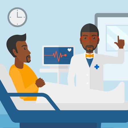 심장 박동 모니터 벡터 평면 디자인 일러스트와 함께 병원 병동에서 환자 돌보는 아프리카 계 미국인 의사. 사각형 레이아웃.