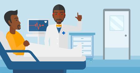 심장 박동 모니터 벡터 플랫 디자인 일러스트와 함께 병원 병동에서 환자 돌보는 아프리카 계 미국인 의사. 가로 레이아웃입니다.