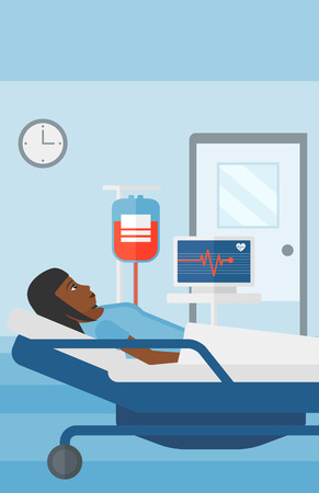lying in: An african-american woman lying in hospital ward with heart rate monitor while blood transfusion is running vector flat design illustration. Vertical layout. Illustration