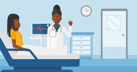 심장 박동 모니터 벡터 평면 디자인 일러스트와 함께 병원 병동에서 환자 돌보는 아프리카 계 미국인 의사. 가로 레이아웃입니다.