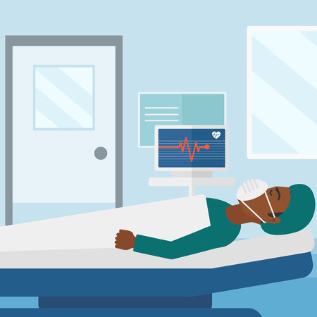 oxygen mask: An african-american man in oxygen mask lying in hospital ward with heart rate monitor vector flat design illustration. Square layout.