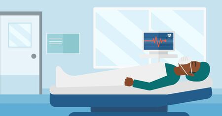 oxygen mask: An african-american man in oxygen mask lying in hospital ward with heart rate monitor vector flat design illustration. Horizontal layout.