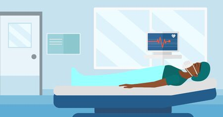 An african-american woman in oxygen mask lying in hospital ward with heart rate monitor vector flat design illustration. Horizontal layout.