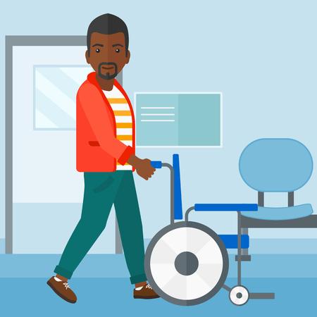 Een man Afrikaans-Amerikaanse duwen lege rolstoel op de achtergrond van het ziekenhuisgang vector platte ontwerp illustratie. Vierkante lay-out.