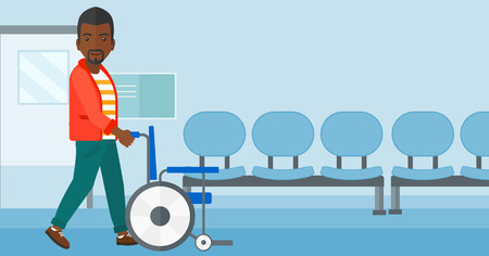 pushing: An african-american man pushing empty wheelchair on the background of hospital corridor vector flat design illustration. Horizontal layout.
