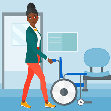 An african-american woman pushing empty wheelchair on the background of hospital corridor vector flat design illustration. Square layout.