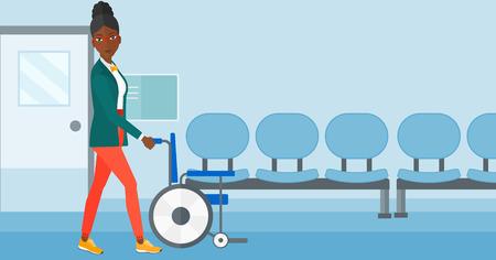 Een Afro-Amerikaanse vrouw duwen lege rolstoel op de achtergrond van het ziekenhuisgang vector platte ontwerp illustratie. Horizontale lay-out.