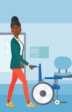 Een Afro-Amerikaanse vrouw duwen lege rolstoel op de achtergrond van het ziekenhuisgang vector platte ontwerp illustratie. Verticale lay-out. Stock Illustratie