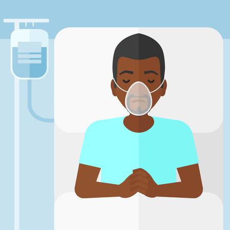 수혈하는 동안 산소 마스크와 병원 침대에 누워있는 african-american 남자 벡터 평면 디자인 일러스트 레이 션. 사각형 레이아웃.