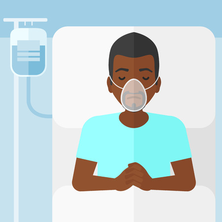 An african-american man lying in hospital bed with oxygen mask while blood transfusion is running vector flat design illustration. Square layout. Illustration