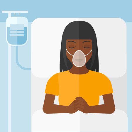 reanimation: An african-american woman lying in hospital bed with oxygen mask while blood transfusion is running vector flat design illustration. Square layout.