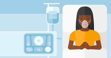woman lying in bed: An african-american woman lying in hospital bed with oxygen mask while blood transfusion is running vector flat design illustration. Horizontal layout.