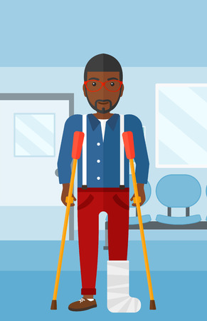 hospital corridor: An african-american man with broken leg standing with crutches on the background of hospital corridor vector flat design illustration. Vertical layout. Illustration