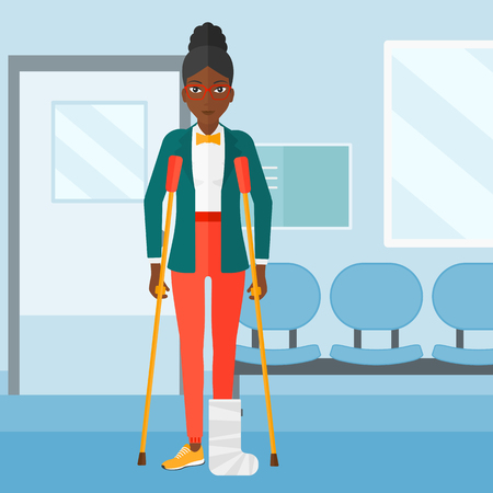 An african-american woman with broken leg standing with crutches on the background of hospital corridor vector flat design illustration. Square layout.