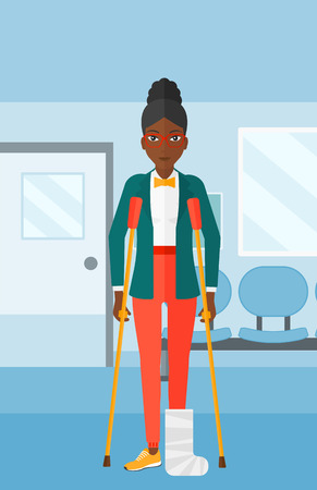 hospital corridor: An african-american woman with broken leg standing with crutches on the background of hospital corridor vector flat design illustration. Vertical layout. Illustration