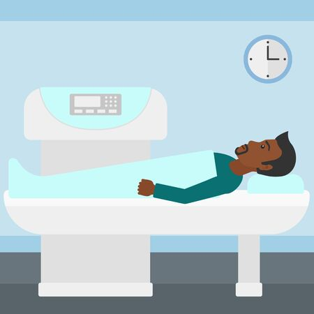 xray machine: An african-american man undergoes an open magnetic resonance imaging scan procedure in hospital vector flat design illustration. Square layout.