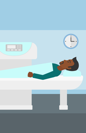 An african-american man undergoes an open magnetic resonance imaging scan procedure in hospital vector flat design illustration. Vertical layout.