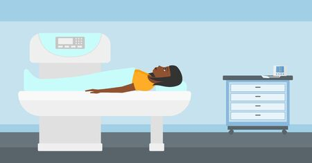 x ray machine: An african-american woman undergoes an open magnetic resonance imaging scan procedure in hospital vector flat design illustration. Horizontal layout.