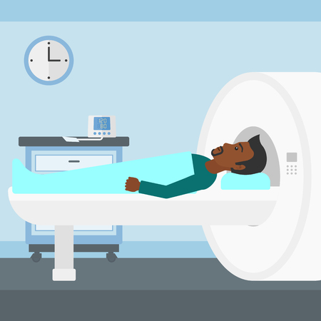 An african-american man undergoes an magnetic resonance imaging scan test in hospital vector flat design illustration. Square layout. Иллюстрация