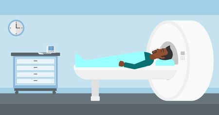 resonance: An african-american man undergoes an magnetic resonance imaging scan test in hospital vector flat design illustration. Horizontal layout.