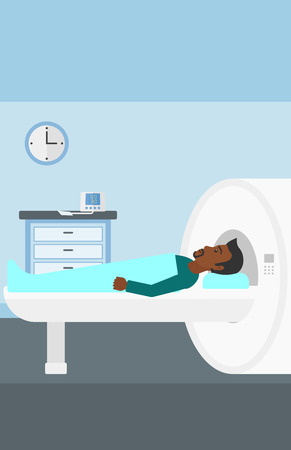 An african-american man undergoes an magnetic resonance imaging scan test in hospital vector flat design illustration. Vertical layout.