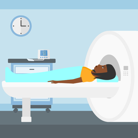 magnetic resonance imaging: An african-american woman undergoes an magnetic resonance imaging scan test in hospital vector flat design illustration. Square layout.