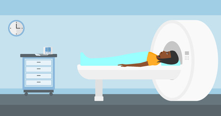 An african-american woman undergoes an magnetic resonance imaging scan test in hospital vector flat design illustration. Horizontal layout.