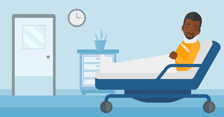 An african-american man with injured neck lying in bed in hospital ward vector flat design illustration. Horizontal layout. Illustration