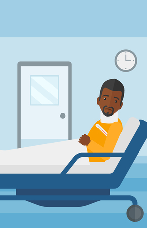 sprain: An african-american man with injured neck lying in bed in hospital ward vector flat design illustration. Vertical layout.