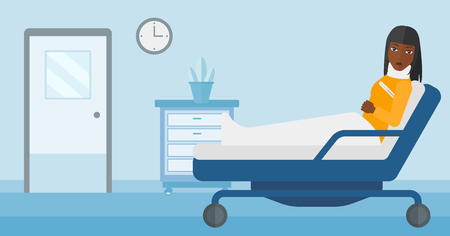 woman lying in bed: An african-american woman with injured neck lying in bed in hospital ward vector flat design illustration. Horizontal layout.