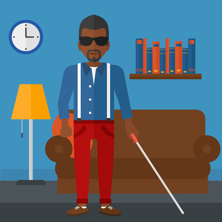 An african-american blind man in dark glasses standing with walking stick on the background of furnished room vector flat design illustration. Square layout. Illustration