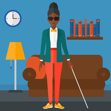 blind woman: An african-american blind woman in dark glasses standing with walking stick on the background of furnished room vector flat design illustration. Square layout.
