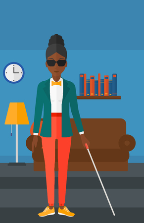 An african-american blind woman in dark glasses standing with walking stick on the background of furnished room vector flat design illustration. Vertical layout. Vettoriali
