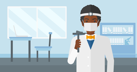 An african-american doctor otolaryngologist on the background of medical office vector flat design illustration. Horizontal layout.