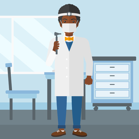 otolaryngologist: An african-american doctor otolaryngologist on the background of medical office vector flat design illustration. Square layout.