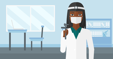 otolaryngologist: An african-american doctor otolaryngologist on the background of medical office vector flat design illustration. Horizontal layout.
