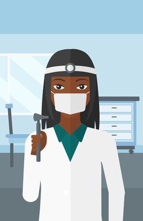 otolaryngologist: An african-american doctor otolaryngologist on the background of medical office vector flat design illustration. Vertical layout. Illustration