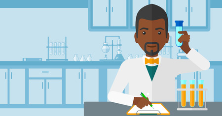 researcher: An african-american man taking some notes and holding a test tube on the background of laboratory vector flat design illustration. Horizontal layout.