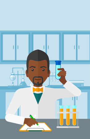science experiment: An african-american man taking some notes and holding a test tube on the background of laboratory vector flat design illustration. Vertical layout.