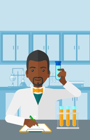 obrero caricatura: Un hombre afroamericano de tomar algunas notas y que sostiene un tubo de ensayo en el fondo de la ilustraci�n del vector de laboratorio dise�o plano. disposici�n vertical.