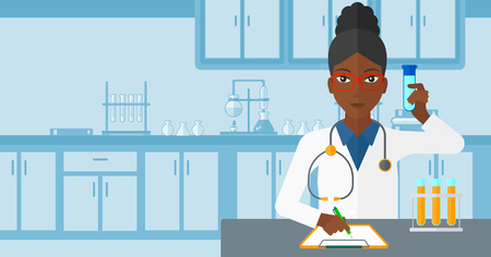 holding notes: An african-american woman taking some notes and holding a test tube on the background of laboratory vector flat design illustration. Horizontal layout.