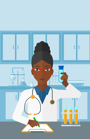 taking notes: An african-american woman taking some notes and holding a test tube on the background of laboratory vector flat design illustration. Vertical layout.