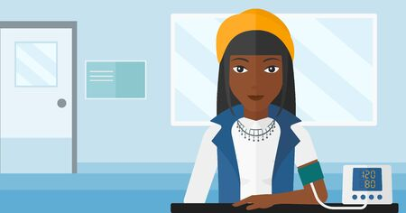 An african-american woman with blood pressure measuring device on the background of medical office vector flat design illustration. Horizontal layout.