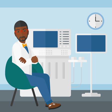 ultrasonic: An african-american male ultrasound specialist with ultrasonic equipment in hospital vector flat design illustration. Square layout.