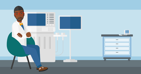 specialist: An african-american male ultrasound specialist with ultrasonic equipment in hospital vector flat design illustration. Horizontal layout.