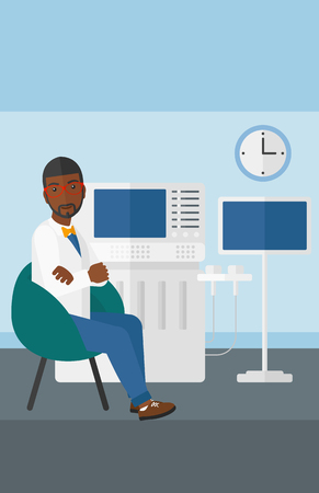 ultrasonic: An african-american male ultrasound specialist with ultrasonic equipment in hospital vector flat design illustration. Vertical layout.