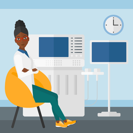 ultrasonic: An african-american female ultrasound specialist with ultrasonic equipment in hospital vector flat design illustration. Square layout.
