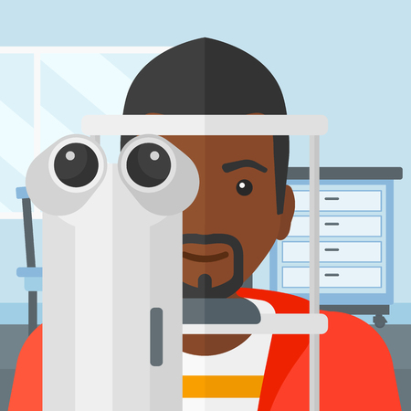 An african-american man during eye exam on the background of medical office vector flat design illustration. Square layout.