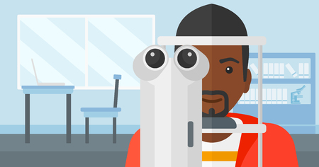 An african-american man during eye exam on the background of medical office vector flat design illustration. Horizontal layout.